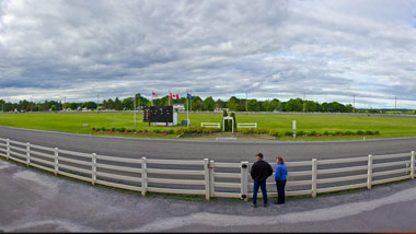 panoramic view of Hollywood Casino Bangor's harness racetrack